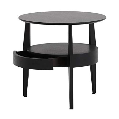 Tables basses avec Coin tiroir Moderne canapé d'angle Petite Table à thé en Bois Massif Armoire de Chevet Armoire de Rangement Multifonction (Color : Black, Size : 51.6 * 53.5cm)