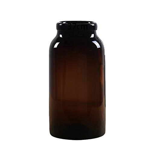 Cilinder Glas Bloem Vazen Flessen Nordic Eenvoudige Potje voor Droge Bloemen Hydroponics Plant, Ornamenten voor Woonkamer Vensterbank Home Accessoires, Donker Bruin 37cm