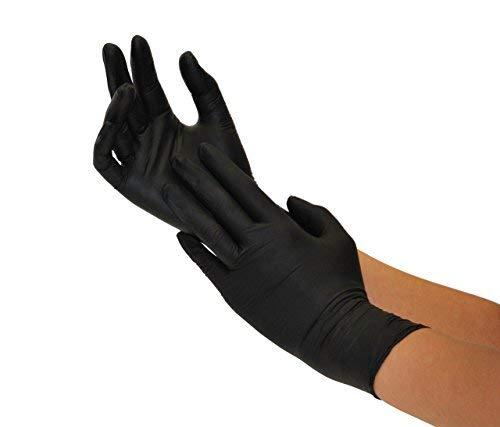 Guantes de nitrilo, 200 pcs caja (XL, Negro), guantes de examen desechables...