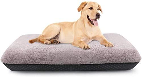 Idepet Hundebett, aufblasbare Hundematte, Hundehütte, waschbarer Plüsch-Bezug, rutschfeste Unterseite, langlebig und bequem, für große, mittelgroße und kleine Welpen Hunde (94 x 61 x 10,2 cm)