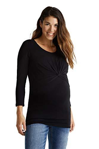 ESPRIT Maternity Damen Sweatshirt Umstandssweatshirt Still-Shirt mit Drapé-Layering (Black (001), 36 (Herstellergröße: S))