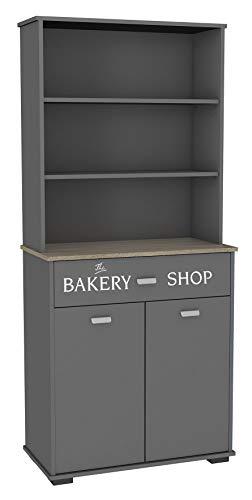 Miroytengo Buffet Alto Bakery 1 cajón y 1 Armario Color Gris Grafito y aserrado Cocina Estilo Moderno 180x80x40 cm