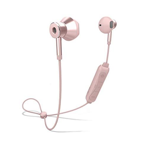 Cotini Magnetische draadloze bluetooth-headset loopt, hals-oortelefoon in het oor, geluidsgeïsoleerde waterdichte en zweetbestendige driedimensionale hoofdtelefoon met ruisonderdrukking pink roze