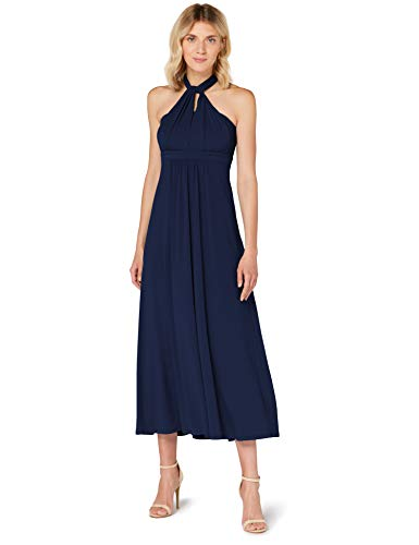Amazon-Marke: TRUTH & FABLE Damen Maxi A-Linien-Kleid, Blau (dunkles Marineblau), 38, Label:M