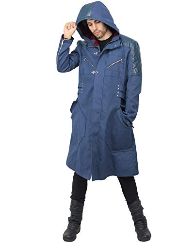 X-COSTUME Devil May Cry V 5 Nero Long Adult Hooded Trench Coat Jacket Anime Cosplay Costume (S)