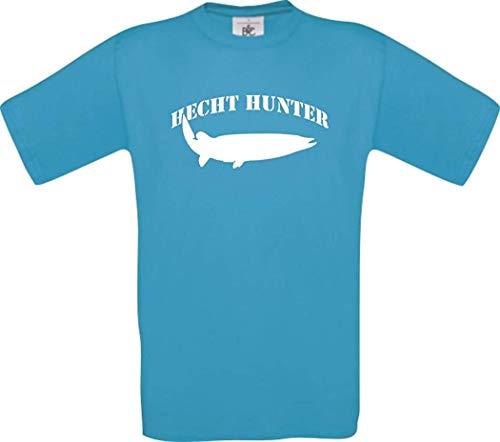 T-Shirt Angeln Fischen Fischer Hecht Hunter Kultstyle, Farbe türkis, Größe XXL