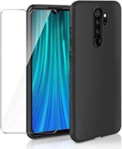 AROYI Cover Huawei P Smart 2021 &[2 Pack] Pellicola Protettiva in Vetro Temperato, Nero Silicone Custodia Scrub Molle di TPU Morbido AntiGraffio Case Cover per Huawei P Smart 2021