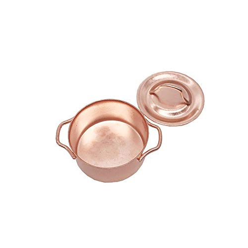 jieGorge Copper Cooking Pan Pot 1/12 Dollhouse Miniature Kitchen Cookware Accessor , Garage Kits , Products for Christmas