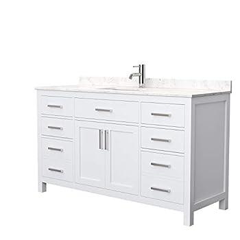 Beckett 60 Inch Single Bathroom Vanity in White Carrara Cultured Marble Countertop Undermount Square Sink No Mirror