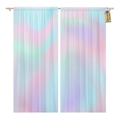 Golee Window Curtain Blue Iridescent Ombre Pink Gradient Color Pattern Pastel Rainbow Home Decor Pocket Drapes 2 Panels Curtain 104 x 63 inches