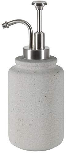 Spirella Seifenspender Cement | mit Edelstahlpumpe | Flüssigseifen-Spender | Keramik | 300ml | Langliebig und Robust | Grau