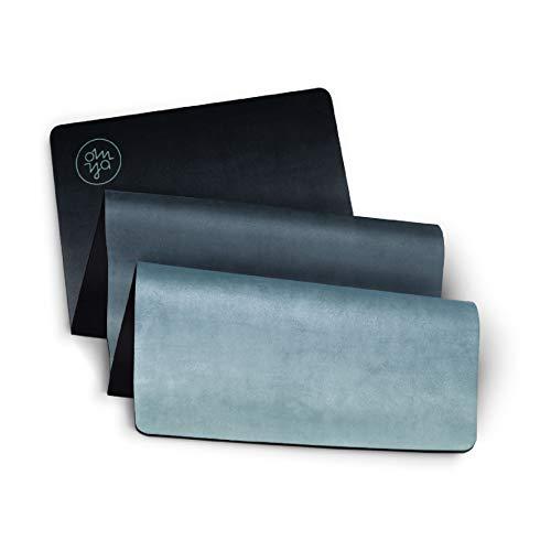 OM YA Design Yogamatte - rutschfest - extra dick - 3,5 mm - ökologisch aus Naturkautschuk - Oberfläche Mikrofaser - Ideal für Hot Yoga, Bikram,...