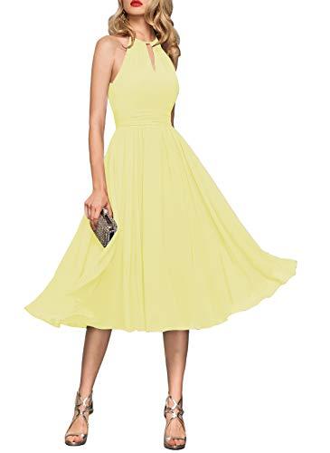 Simple Light Yellow Short Bridesmaid Dresses A Line Halter Chiffon Elegant Wedding Guest Down Party Dress for Womens B034