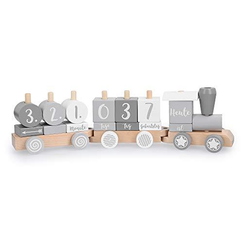 Navaris Holz Eisenbahn Holzzug für Kinder - Zug Holzspielzeug mit Buchstaben Zahlen - Baby Spielzeug personalisierbar - Deko Holzeisenbahn - 20 Teile