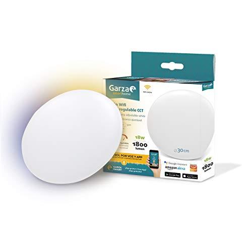 Garza  Smarthome - Plafón LED techo Inteligente wifi 30cm diámetro, luz blanca neutra regulable con cambio de intensidad y temperatura. Programable, compatible con Amazon Alexa y Google Home.