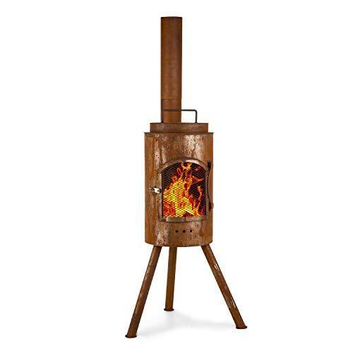 blumfeldt Tripolis - Feuerschale mit Grill, Grillrost: Ø 25,5cm, Maße: 53 x 137 x 46cm (BxHxT), Wok-Ring: Ø 25,5cm, Used-Look: künstliche Rost-Optik, mit Deckel, Ofentür und -Rohr, Holzfeuer, braun