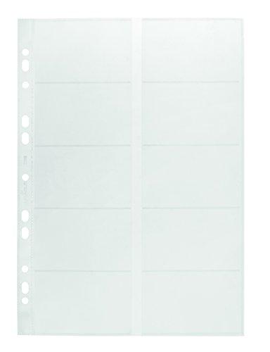 Durable 238919 Fundas de tarjetas de visita A4, para carpetas y archivadores de anillas, 10 piezas, transparente