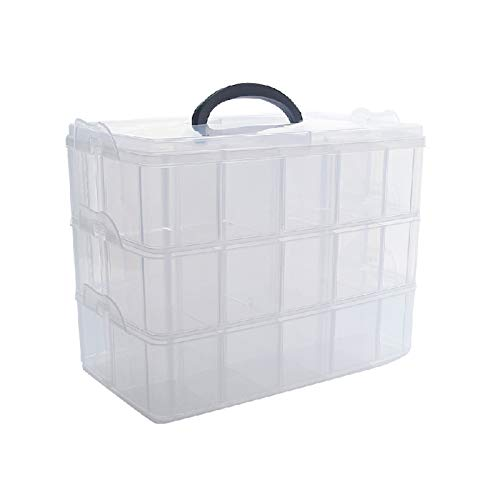3 Layer Demountable Stackable Jewelry Storage Container Box with Adjustable Dividers for Arts Crafts Supplies Jewelry Sewing Threads Toys Beauty Supplies