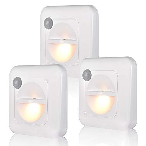 人感センサー ライト 電池式 センサーライト LEDライト 3Mテープ マグネット 磁石付き 明暗センサー 夜間ライト 足元灯 玄関/寝室/廊下/階段用 電球色 3個セット