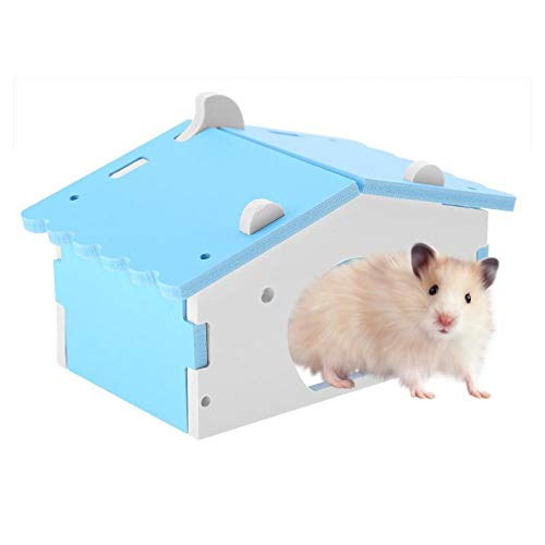 Sobotoo Casa de hámster de madera de plástico para mascotas pequeñas, nido de castillo para hámster sirio, rata y ratón, cobaya, ardilla (azul)