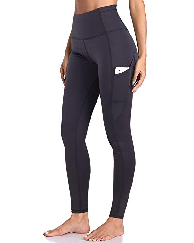 GRAT.UNIC Damen Hohe Taille Sport Leggings,Damen Sport Leggings,Yoga Sporthose mit Seitentaschen, Damen Leggings,Classics Schwarz Stretch Workout Fitness Jogginghose (Schwarz(Lange leggings), L)