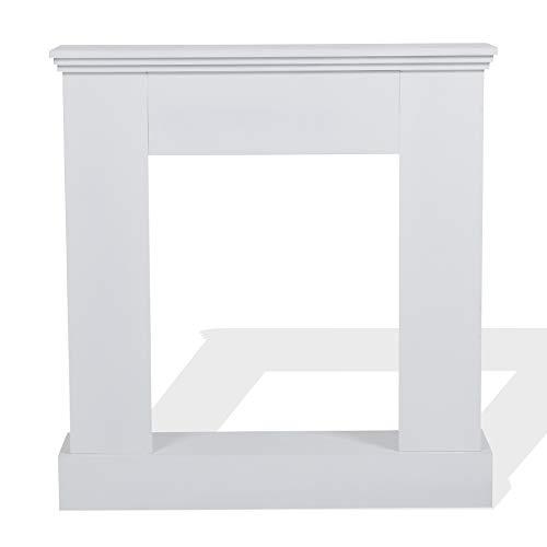 Rebecca Mobili RE4663 - Cornice Decorativa Caminetto, Design Contemporaneo, Legno, Bianco, 98 x 92 x 23 cm