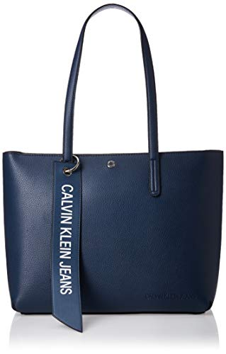 Calvin Klein Damen Ckj Banner Ew Shopper Tote, Blau (Washed Blue), 12.5x29.5x41.5 Centimeters
