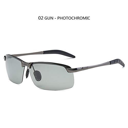 Photochromen Sonnenbrille Männer polarisierten Driving Chameleon Brille männlich Farbe ändern Sun-Glas-Tag-Nachtsicht-Fahrer Brillen (Lenses Color : 02 Gun Chameleon)
