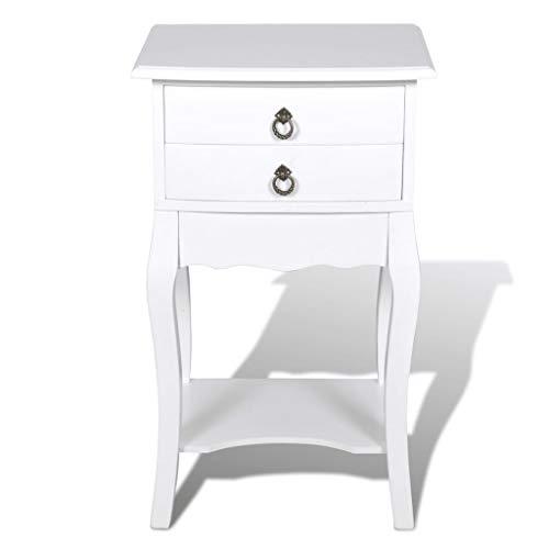 vidaXL Table de Chevet 2 Tiroirs Blanc Table d'appoint Meuble Table de Nuit