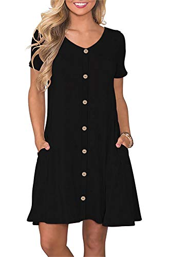 Manydress Women's Summer Casual T Shirt Dresses Short Sleeve Button Down Swing Dress with Pockets MY035 (Black, L)