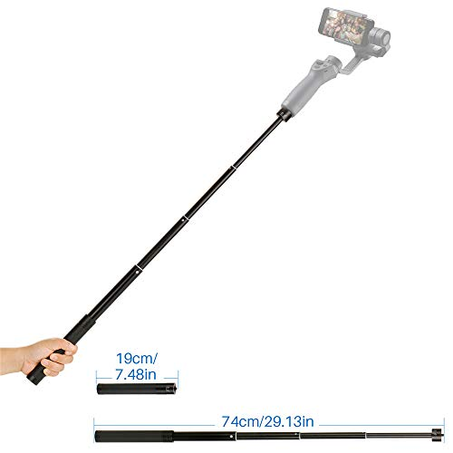 "HAFOKO Handheld Bastone Selfie Regolabile Estensione Retrattile Asta Compatibile con DJI Osmo Mobile 2 Dji Osmo 3 / Feiyu/Zhiyun Smooth Q & 4 con Asta Filettata 1/4"""