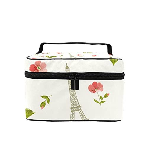 Bolsa de maquillaje de viaje grande bolsa de cosméticos Torre Eiffel flores maquillaje caso organizador con bolsa de malla para mujeres y niñas