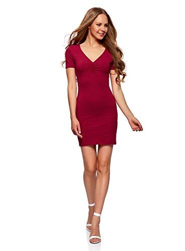 oodji Ultra Damen Enges Kleid mit V-Ausschnitt, Rot, DE 34 / EU 36 / XS