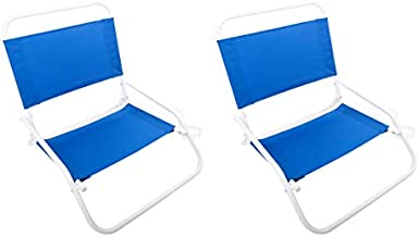 Cascade Mountain Tech Low Profile Beach Chairs with Carry Strap - Lightweight, Folding for Sand - 2 Pack, Royal Blue