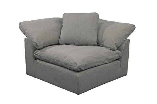 Sunset Trading Cloud Puff Slipcovered Arm Modular Corner, Performance Gray Sofa Sectional Chair, Grey