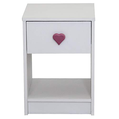 Devoted2Home Childrens Bedroom Furniture 1 drawer bedside cabinet white heart handle, Wood, 35.2x34.3x50 cm