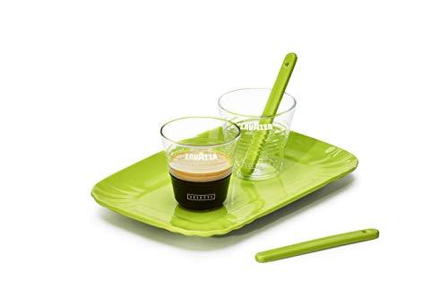 Lavazza Seletti - Juego de tazas de cristal y cerámica, verde, 755 ml
