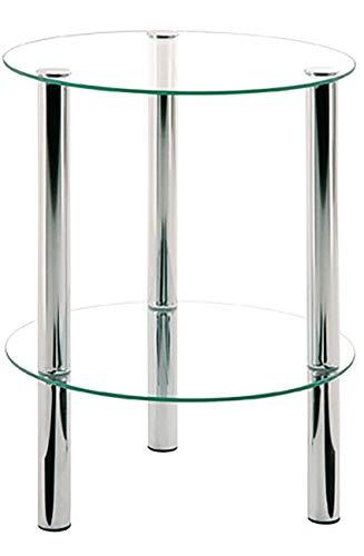 Haku Möbel Beistelltisch rund-Stahlrohr verchromt klares Sicherheitsglas H 47 cm