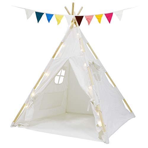 HomGarden Teepee Tent for Kids with Fairy Lights & Carry Case , Portable White Children Play Tents 100% Cotton Canvas for Girls and Boys Indoor Outdoor Playhouse Toys