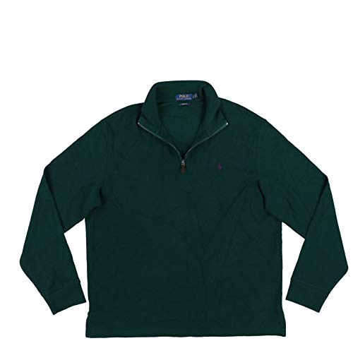 Polo Ralph Lauren Mens Quarter Zip Estate Rib Sweater (L, Pine Green)