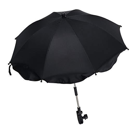 Ombrelle Poussette Universelle Bébé Confort Anti UV 50+,Parapluie Poussette Universelle avec Bras Réglable,Parasol Poussette Pliant pour Extérieur Plage Jardin en Plein Air (Noir)