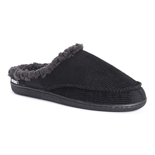 MUK LUKS Men's Corduroy Clogs Slipper, Black, Medium 10-11 M US