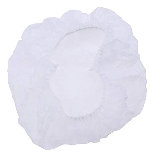 Artibetter 100pcs Vliesstoff Netzhaube Kopfhauben Einweghauben Baretthaube Runder Hut mit Pilzkopfbedeckung (weiß)