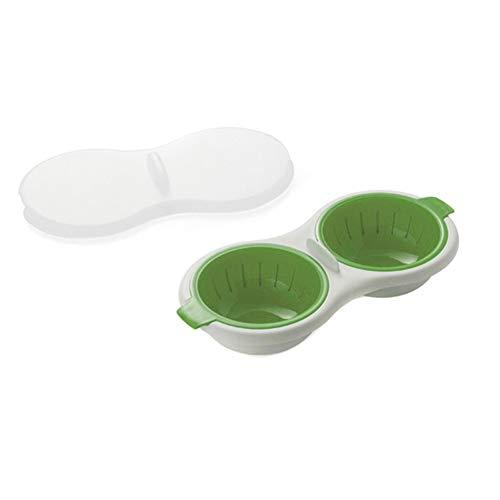 ISAKEN Grado de Comida Cazador furtivo de Huevos para microondas Utensilios de Grado alimenticio Caldera de Huevos de Doble Taza Juego de Huevos al Vapor Hornos de microondas Herramientas de Cocina