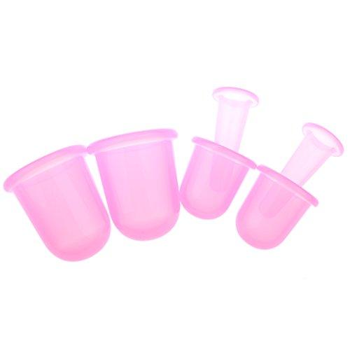 MagiDeal Kit 6pcs Tasses en Silicone Anti-cellulite à Aspiration, Sain Silicone Vide Anti-Cellulite Minceur Ventouses, Massage Vacuum Ventouses Coupes Set - Soins de Beauté - S M L - Rose