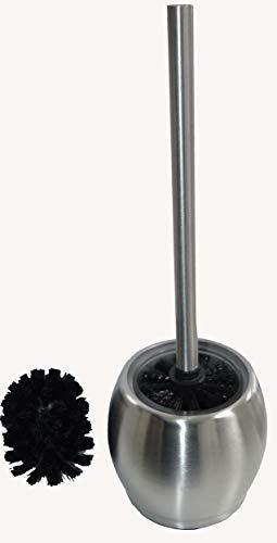 Easy Home WC-Bürste mit Glaseinsatz Stand aus hochwertigem Edelstahl und Satinierem Glas mit 1x Ersatzbürstenkopf (Rostfrei) H. 37cm, Duchmesser: 10cm
