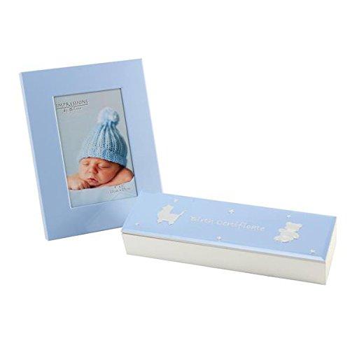 Taufgeschenk Dose und Bilderrahmen in Hellblau zur Geburt oder Taufe
