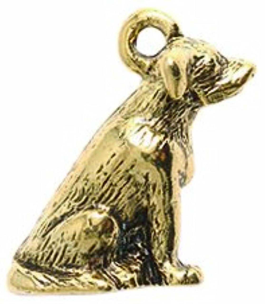 Shipwreck Beads Pewter Labrador Dog Charm, Antique Gold, 18mm, 2-Piece