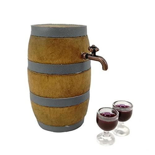 Froiny Suministros Miniatura 1set Rojo del Barril De Vino Conjunto Bodega Decoración Pub Bar Party Decor con Grifo Y Vidrio De Vino