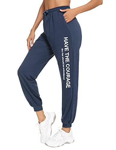 Hawiton Pantaloni Sportivi da Donna, Pantaloni della Tuta Pantaloni Jogging Donna Pantaloni Casual Donna Pantaloni per Allenamento Jogging Fitness Yoga, Blu Grigio, M